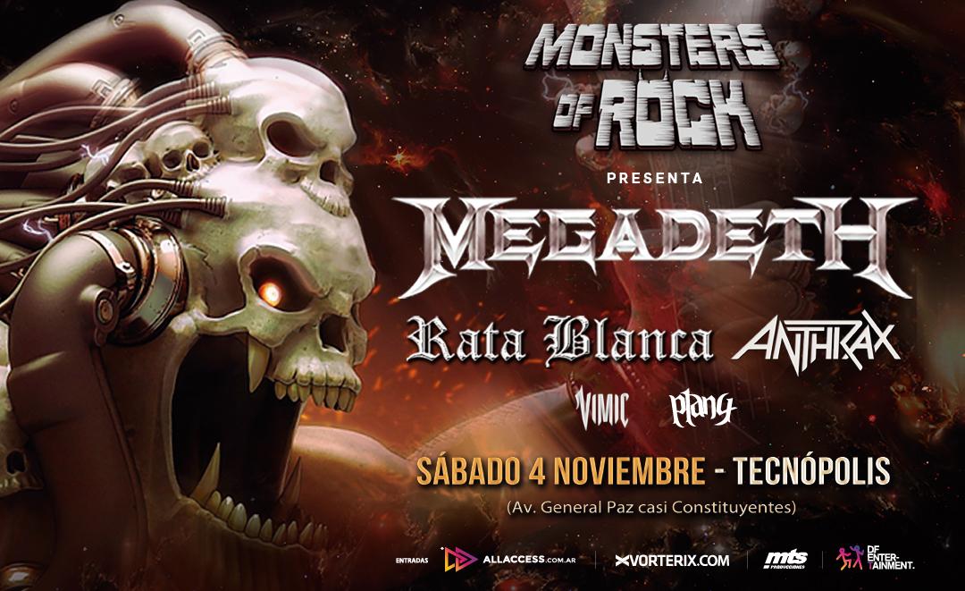 ¡Vuelve el Monsters of Rock! Megadeth, Anthrax, Rata Blanca, Vimic y Plan 4 en vivo el 4 de noviembre en Tecnópolis